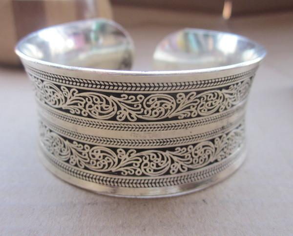 European Concave Metal Tibetan Silver vintage retro Bangle Cuff Bracelet Valentine's Day Gift for her Cuff-BRACELETS-SheSimplyShops