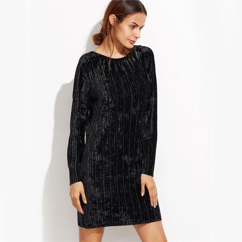 COLROVIE Black Open Back Ribbed Velvet Dress Autumn Winter Long Sleeve Straight Mini Dress Women Shift Short Dress-Dress-SheSimplyShops