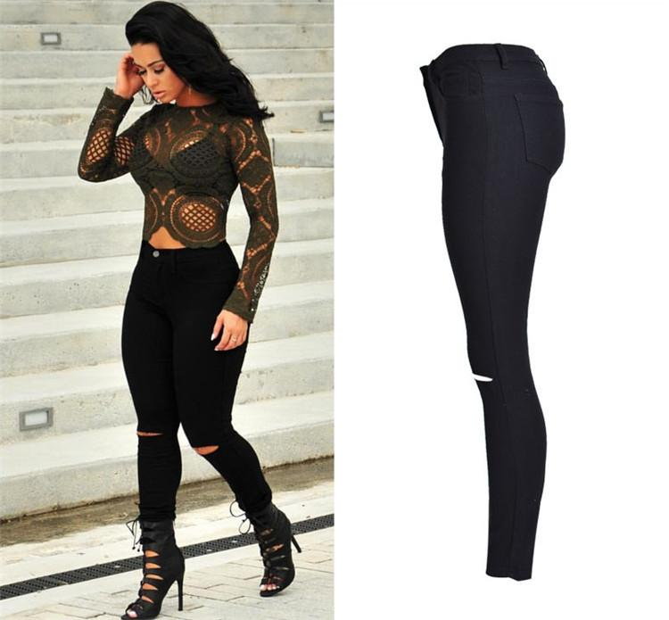 New Fashion Ladies Black Ripped Jeans Woman High Waisted Jeans Femme Stretch Noir slim Jean-JEANS-SheSimplyShops