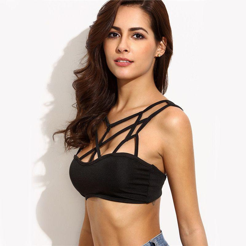 COLROVIE Female Sexy Black Hollow Out Cropped Cami Tops Caged Neck Sleeveless Bralet Plain Fashion Lingerie-Tops-SheSimplyShops