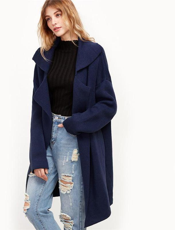 SheIn Winter Coats Women Navy Notch Collar Drop Shoulder Pocket Long Sleeve Oversized Outwear Casual Sweater Coat-Coats & Jackets-SheSimplyShops