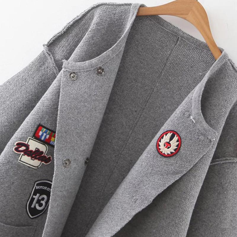 SheIn Women Sweaters and Knitwear Fall Fashion Knit Sweater Grey Patch Embroidery Drop Shoulder Side Slit Pocket Cardigan-SWEATERS + CARDIGANS-SheSimplyShops
