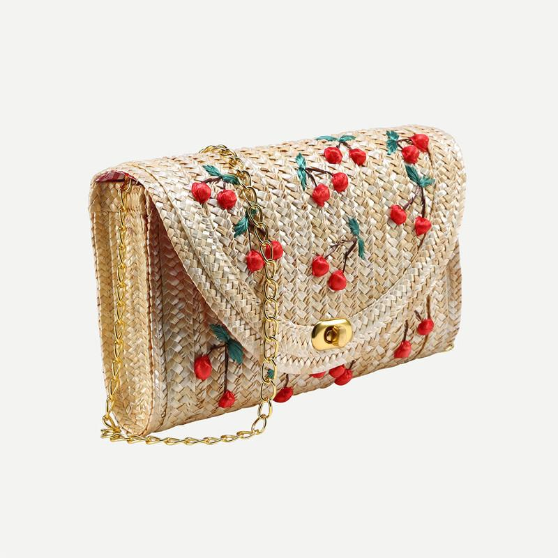 SheIn Famous Designer Brand Bags Women Fashion New Arrival Summer Beach Wear Beige Cherry Applique Straw Chain Bag-BAGS-SheSimplyShops