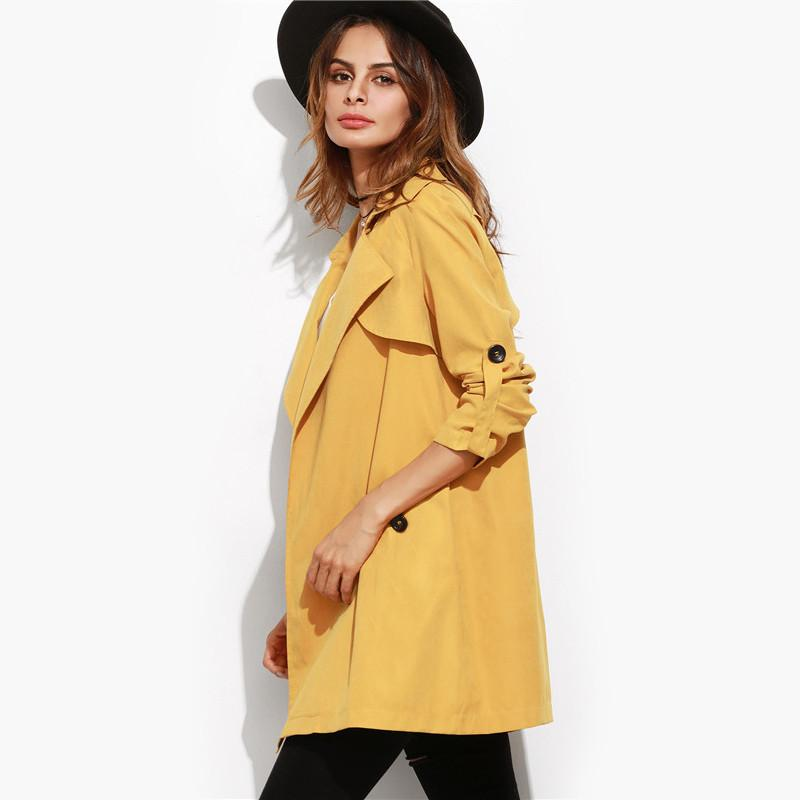 SheIn Trench Coat For Women Casual Coats Woman's Fashion Fall Yellow Lapel Roll Sleeve Split Back Duster Coat-Coats & Jackets-SheSimplyShops