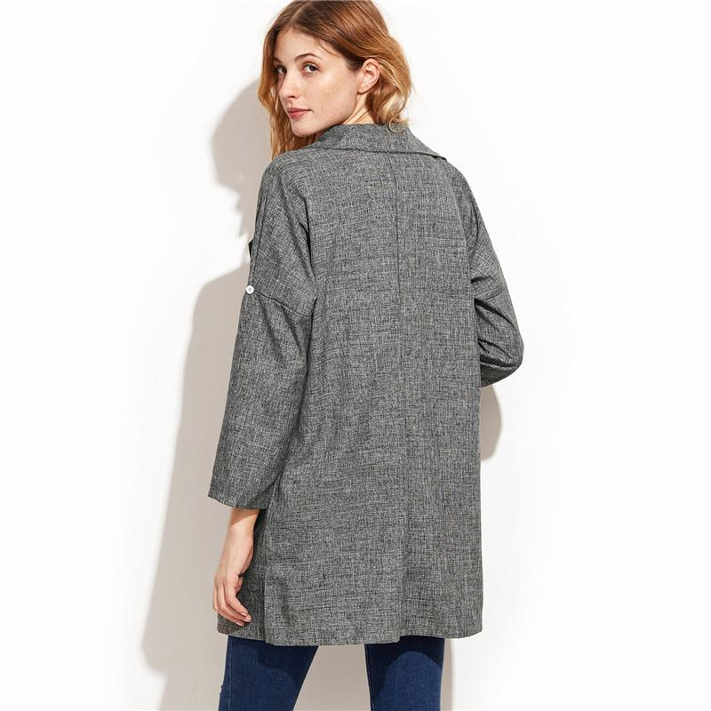 Office Grey Long Blazers-Women - Apparel - Cardigans-SheSimplyShops