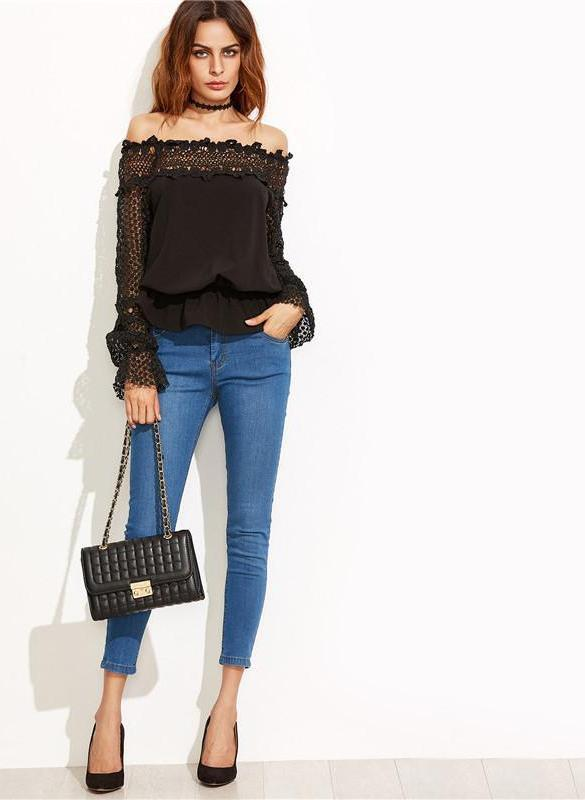 SheIn Off Shoulder Lace Blouse Women Shirts Black Long Sleeve Hollow Out Women Tops and Blouses Crochet Peplum Sexy Top-Blouse-SheSimplyShops