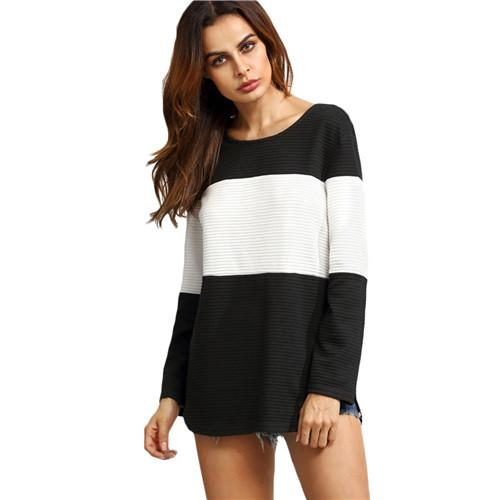 SheIn Contrast Curved Hem Textured Sweatshirts Womens Color Block Pullovers Black and White Round Neck Long Sleeve Sweatshirt-HOODIES-SheSimplyShops