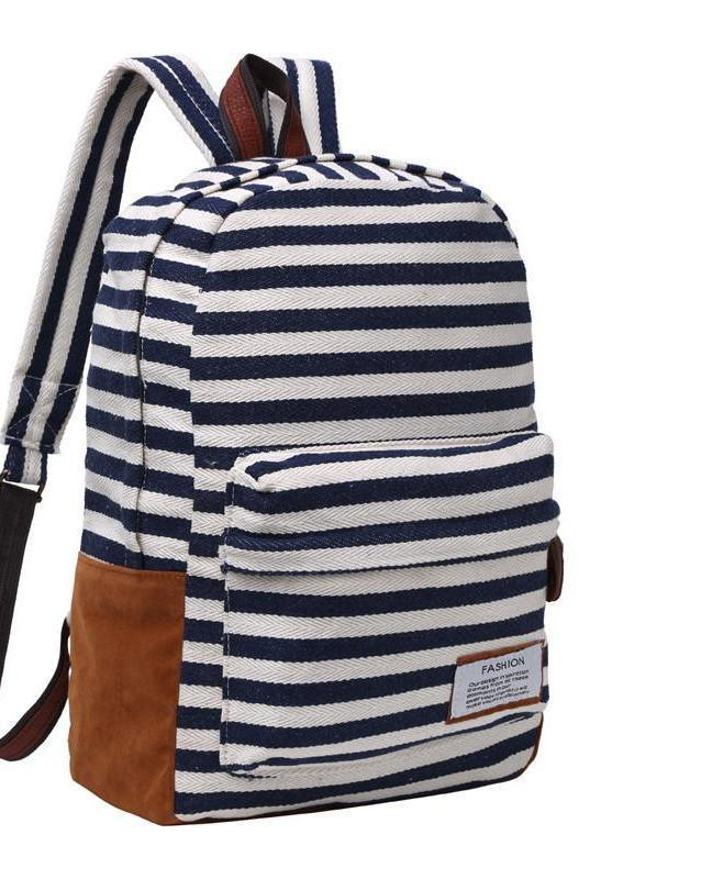 SheIn Ladies Fashion Preppy Style Women Backpacks Ladies Casual Arcuate Shoulder Strap Blue Striped Canvas Backpack-BAGS-SheSimplyShops