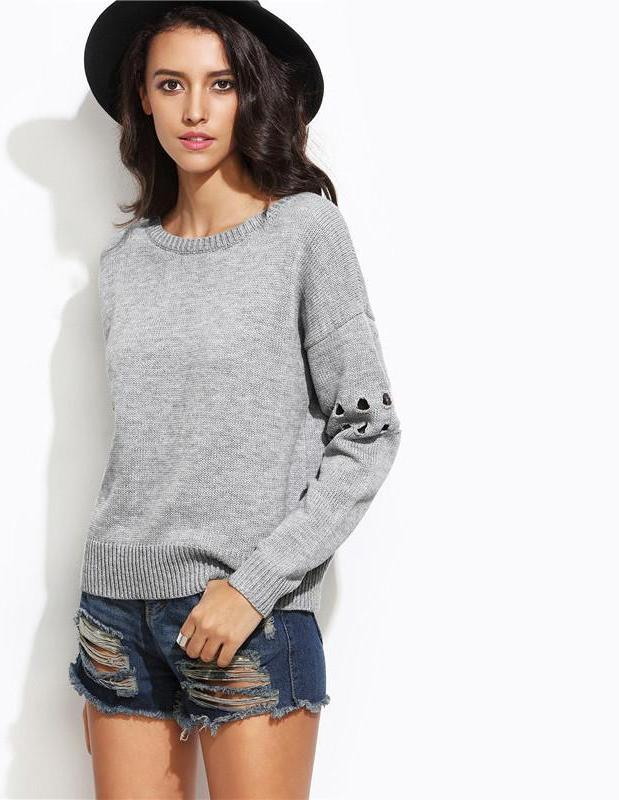 SheIn Casual Pullovers For Ladies Grey Bow Tie Open Back Round Neck Drop Shoulder Eyelet Long Sleeve Loose Sweater-SWEATERS + CARDIGANS-SheSimplyShops