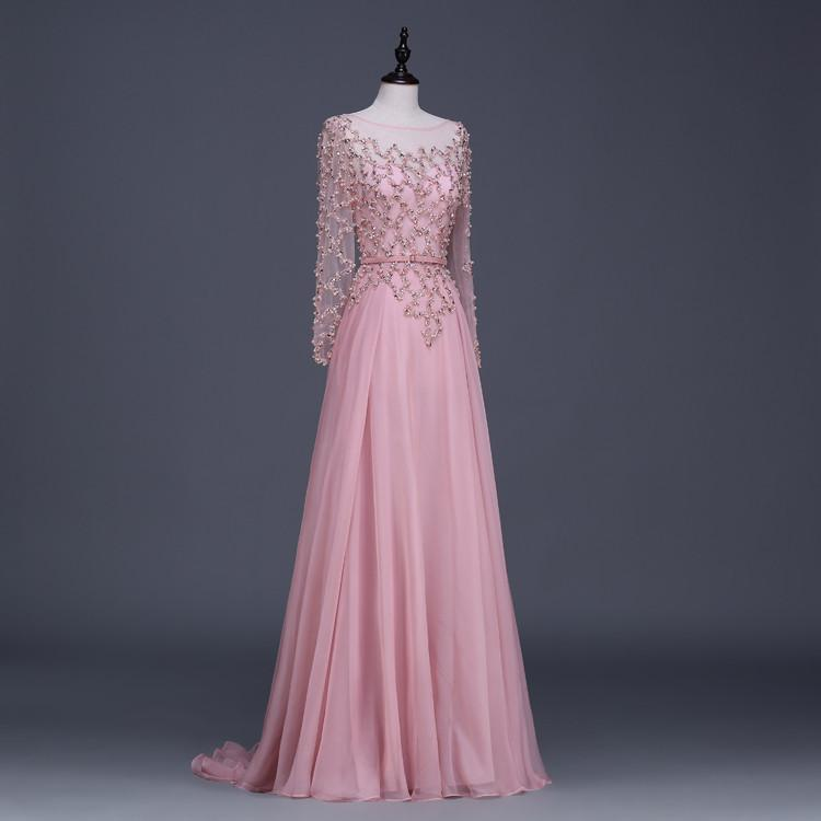 Evening Dresses Gowns Long Sleeve Prom Dress Ladies A-Line Floor-Length Chapel Train Beading Longo-Dress-SheSimplyShops