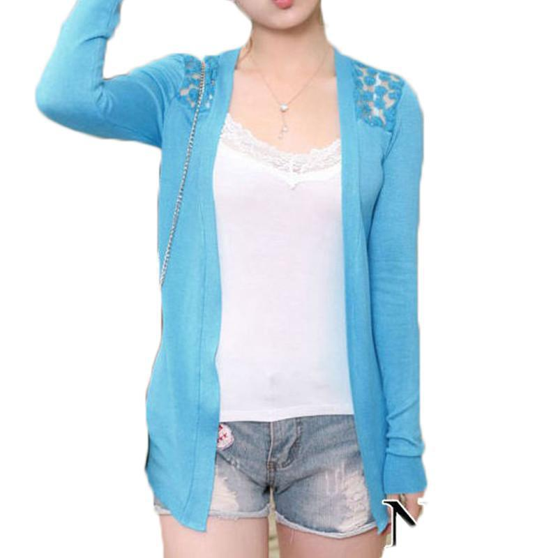 Summer Lace Cardigan Women Blouse Candy Color Shirt Back Hollow out Knitted Crochet Tops For Ladies Female Feminina-Blouse-SheSimplyShops