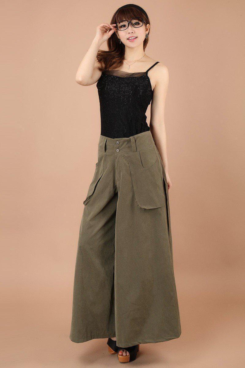One piece Women Pants Falda Pantalon New Brand Design Wide Leg Pants S-8XL Larger Size Thin Women Trousers Cotton-Dress-SheSimplyShops