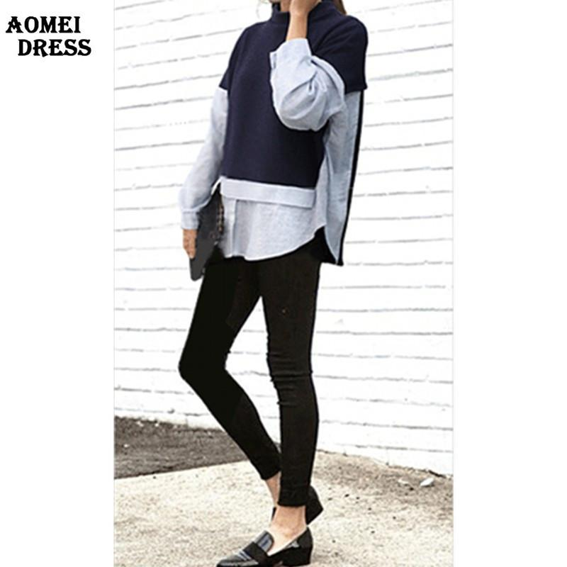 Women Cotton Dark Blue Blouses and Shirts Striped O-Neck With Zipper Casual Female Wear Clothes-Blouse-SheSimplyShops
