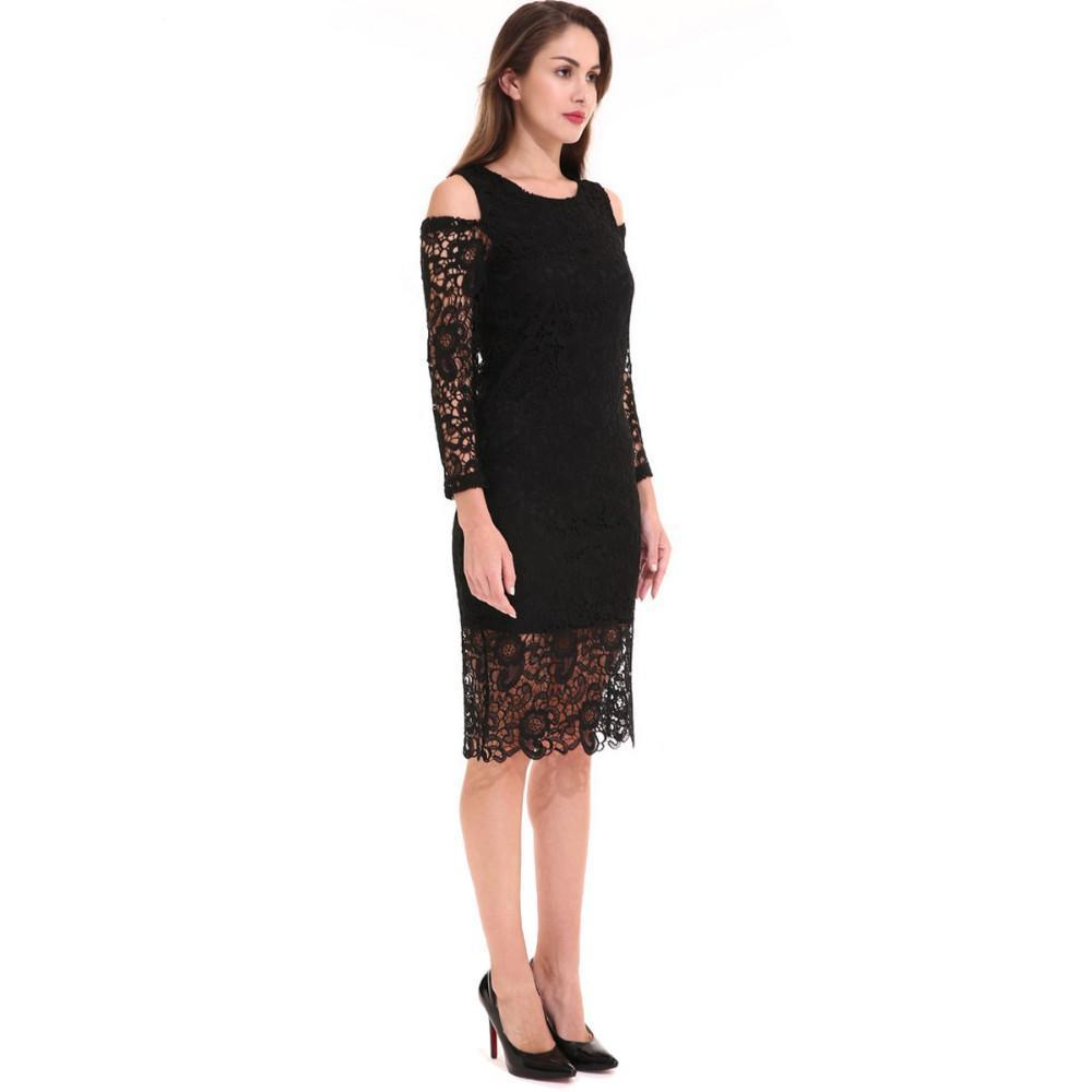 Ladies Vintage Black Lace Dress Hollow Out Sexy O-Neck Retro Robes Female Elegant Slim Gowns Dresses Clothes-Dress-SheSimplyShops