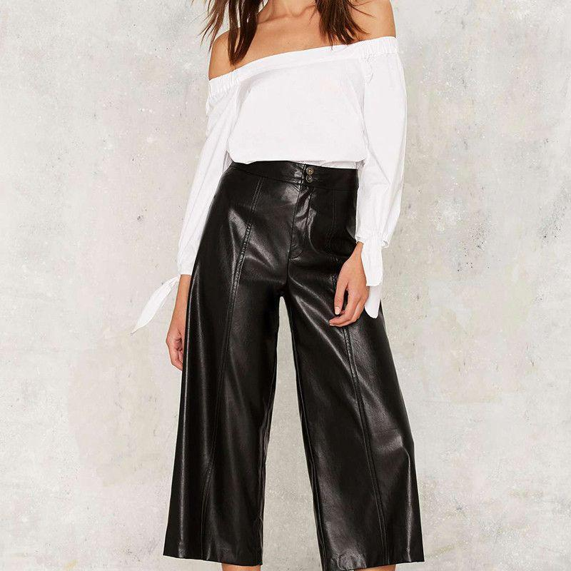 Black PU Wide Leg High Waist Pants Solid Streetwear Zipper Leather Pants Sexy Vintage Loose Casual Flare Pants-PANTS-SheSimplyShops