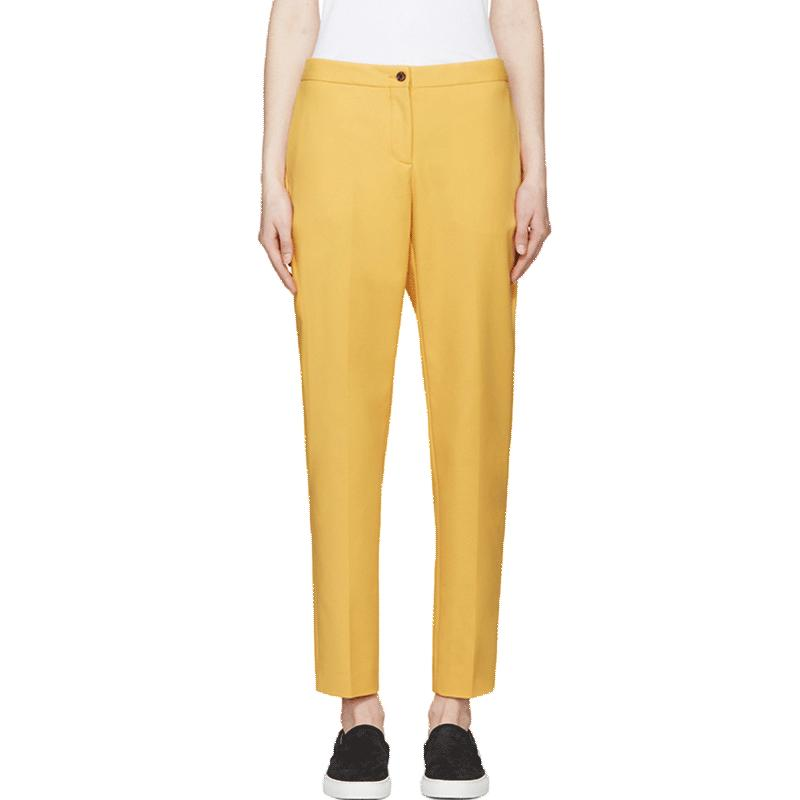 HDY Haoduoyi Autumn Women Fashion Double Pockets Streetwear Solid Yellow Trousers Casual Straight Single Button Pants-PANTS-SheSimplyShops