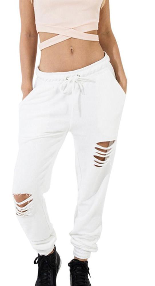 HDY Haoduoyi Sexy Cut Out Fashion Women Trousers White Chic Straight Loose Casual Pants Natural Hole Drawstring Autumn Pants-PANTS-SheSimplyShops