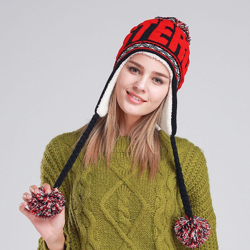 [AETRENDS] New Fashion Designer Beanies Winter Hat with Ears Warm Beanie Girl Hats with Top Ball Z-1355-Tops-SheSimplyShops