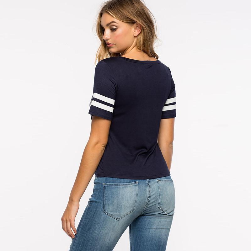 HDY Haoduoyi Women Blue Brief Letters Print Short Sleeve T-shirts Chic Casual Basic Tees O-neck Street Style Tops-SHIRTS-SheSimplyShops