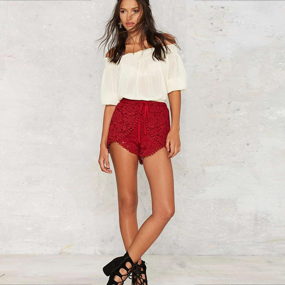HDY haoduoyi Femal Sexy Waist Type Contrst Asymmetrical Short Fashion Women Red Lace Trim Cloth Streetwear Casual Shorts-PANTS-SheSimplyShops