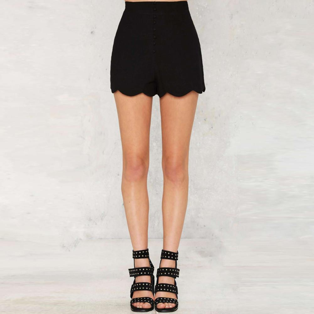 Rippled Edge Solid Black High Waist Casual Shorts-PANTS-SheSimplyShops