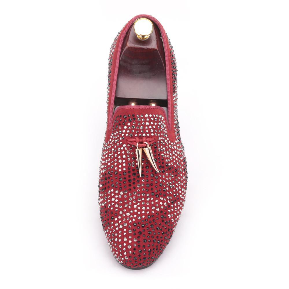 New red and black suede men shoe with gold tassel and exquisite crystal men wedding and party loafers men dress shoes men's flat-Dress-SheSimplyShops