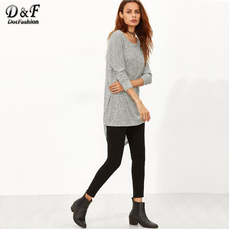 Tops Clothes Women Long Sleeve Tops Winter Casual Women Grey Knit Bow Back High Low T-shirt-Bottoms-SheSimplyShops