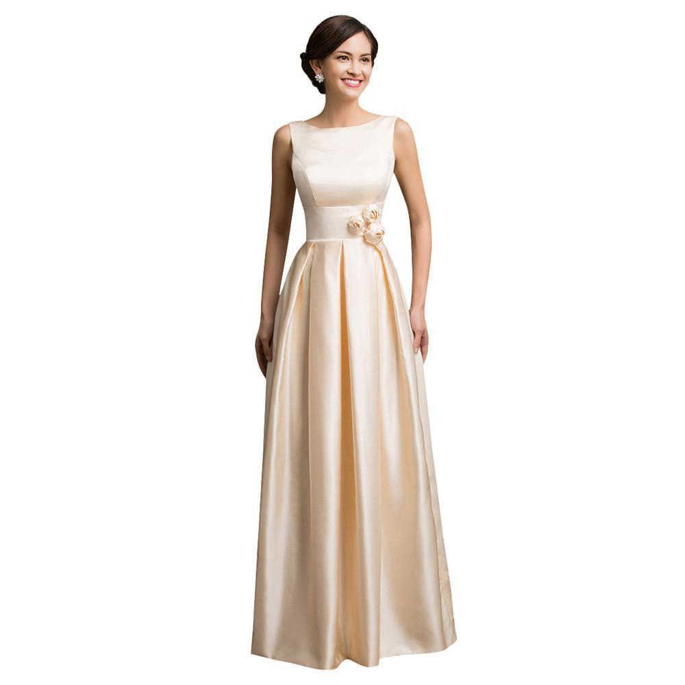 Long Evening Dress New Sleeveless Satin Apricot Evening Gowns Formal Party Dresses-Dress-SheSimplyShops