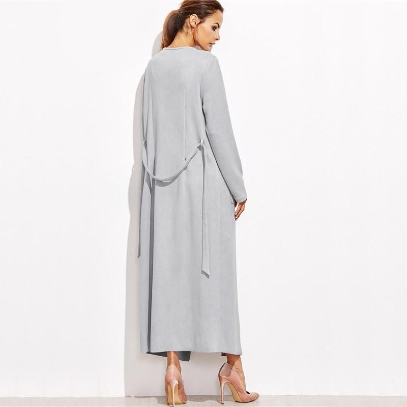 Long Gray Trench Coat With Pockets-Coats & Jackets-SheSimplyShops