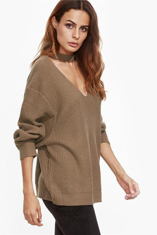 SheIn Autumn Women Sweaters and Pullovers Khaki Drop Shoulder Cut Out V Neck Long Sleeve Loose Casual Oversized Sweater-SWEATERS + CARDIGANS-SheSimplyShops