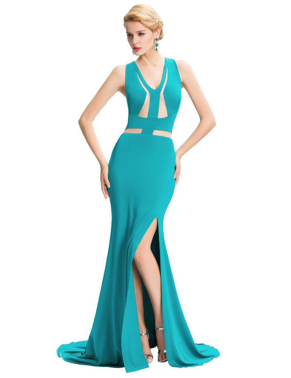 Grace Karin Sexy Split Backless Evening Dress Long Elegant Arabic Evening Gowns Formal Dresses Long Prom Party Dinner Dress-Dress-SheSimplyShops