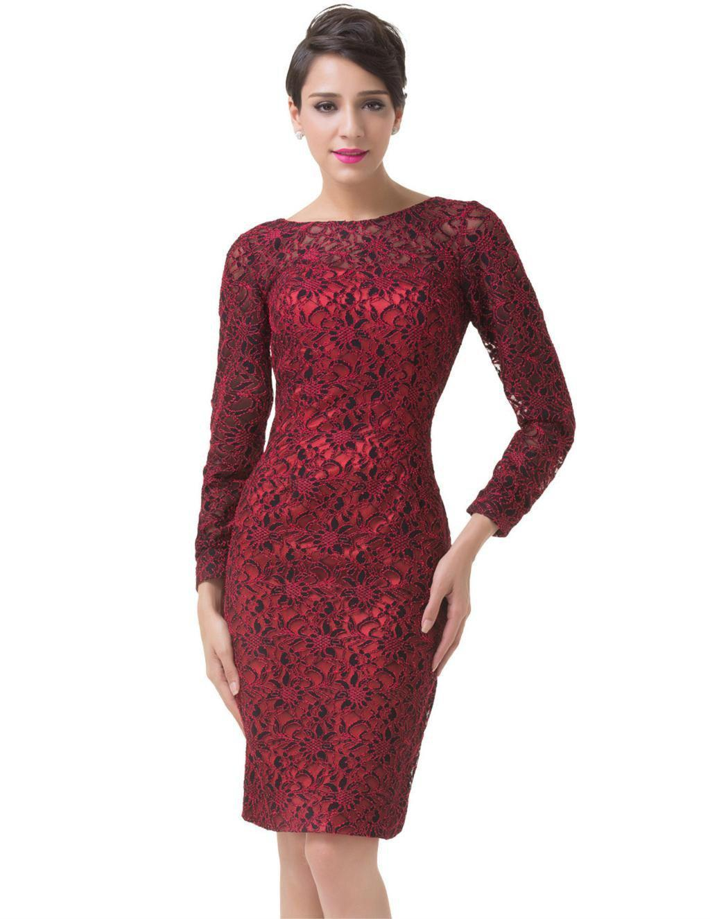 Grace Karin Long Sleeve Red Evening Dress Elegant Women Lace Mother Of The Bride Dresses Wedding Party Dress Formal Gowns 6278-Dress-SheSimplyShops