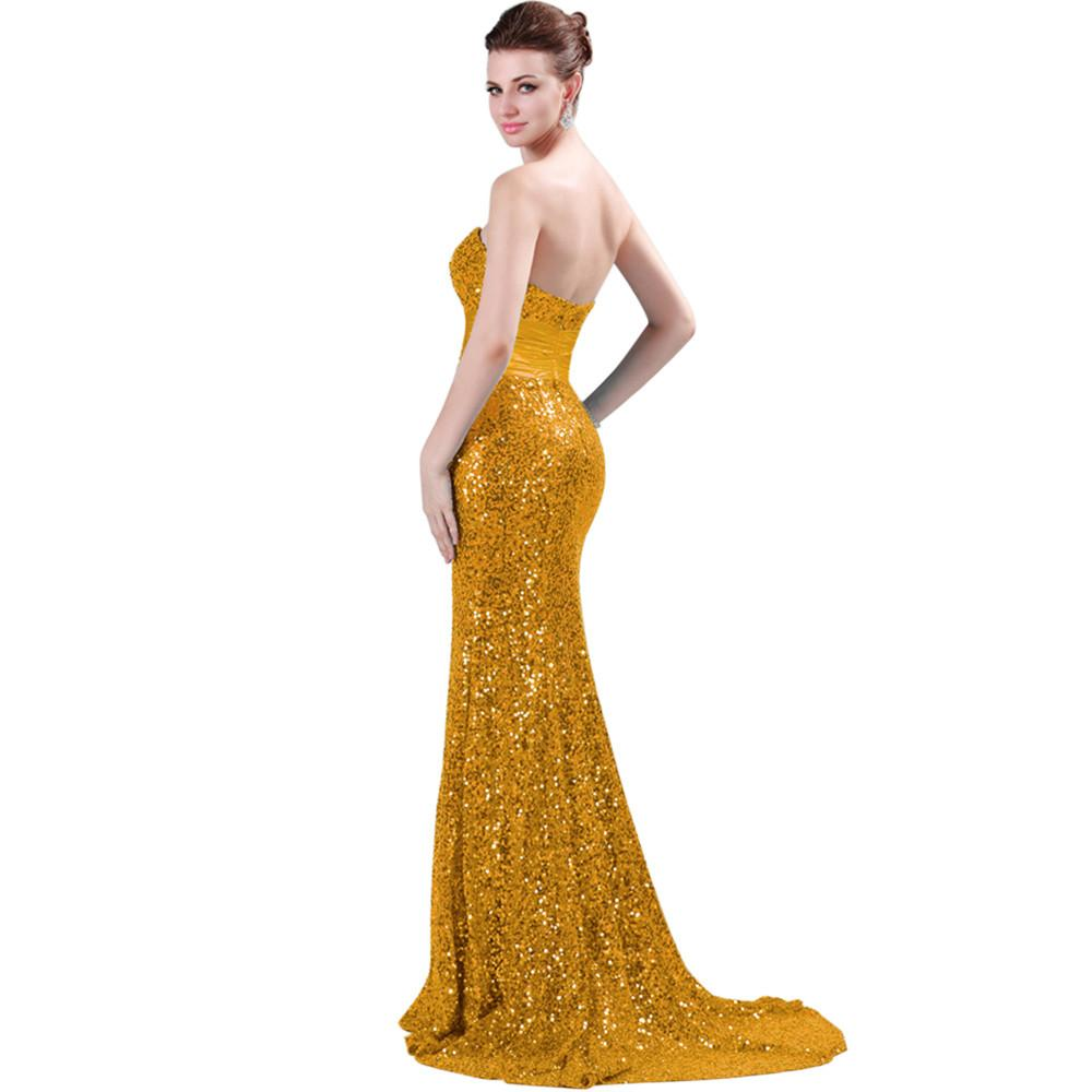 Mermaid Sequins Evening Dresses Grace Karin Red Black Gold Silver Sexy Formal Gowns Long Party Celebrity Dresses 4409-Dress-SheSimplyShops