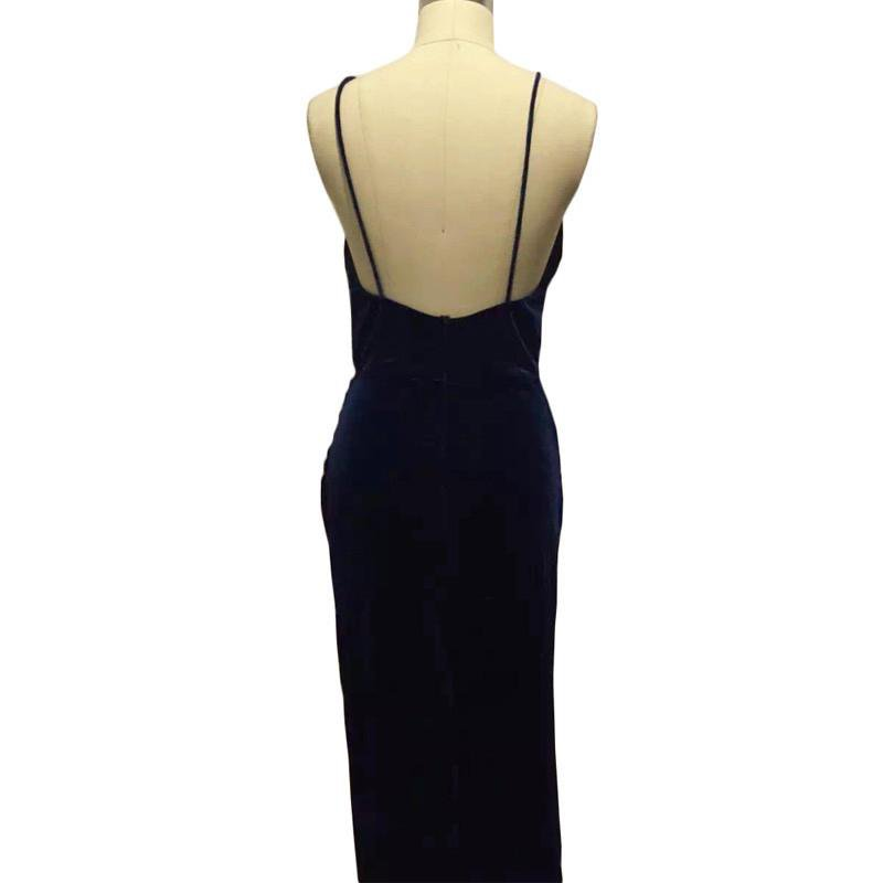 Ladies Blue Velvet Sling V Neck Backless Dresses Sexy Long Split Dress Flannel Winter Party Wear to Work-Dress-SheSimplyShops