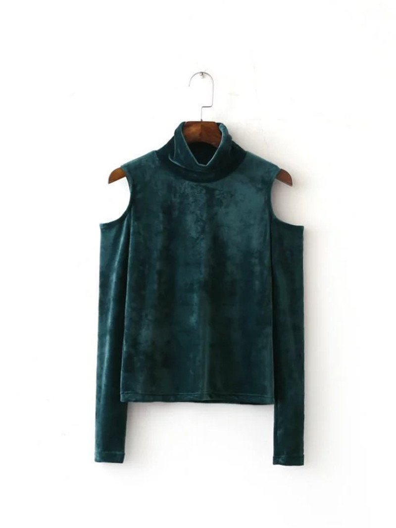 Autumn winter Fashion wild slim long sleeve High collar strapless blouse velvet Shirt Tibetan blue green-Blouse-SheSimplyShops