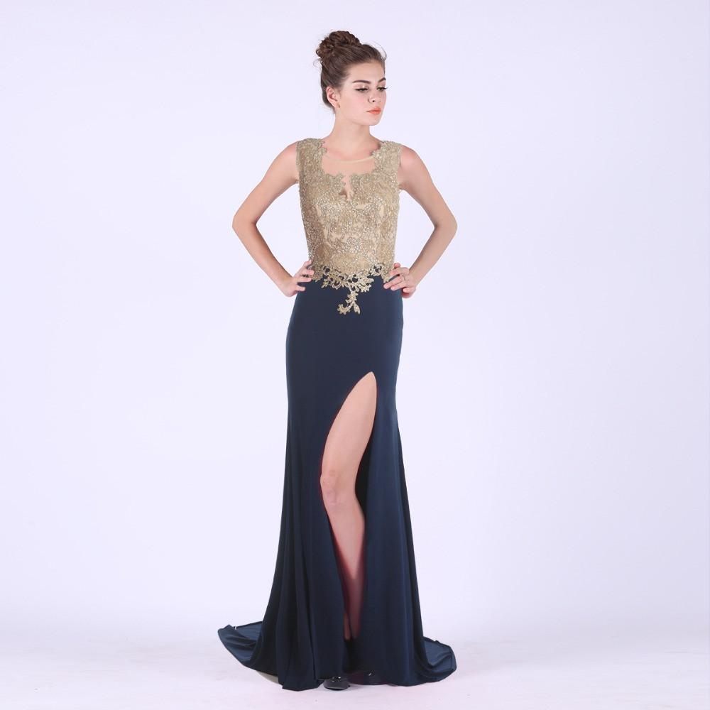 Appliques Evening Dresses Prom Party Gowns Beading See Through Top Leg Split Sexy Formal Plus Size-Dress-SheSimplyShops