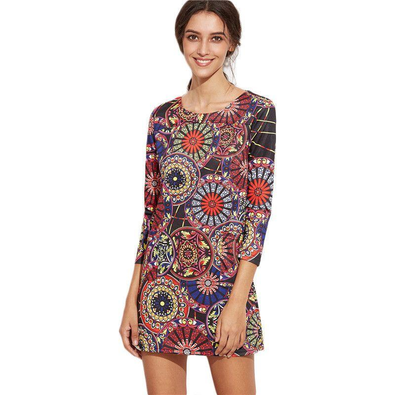 COLROVE Multicolor Vintage Print Pockets Shift Dress Women Round Neck 3/4 Sleeve Dress Autumn Sexy Wear Mini Dress-Dress-SheSimplyShops