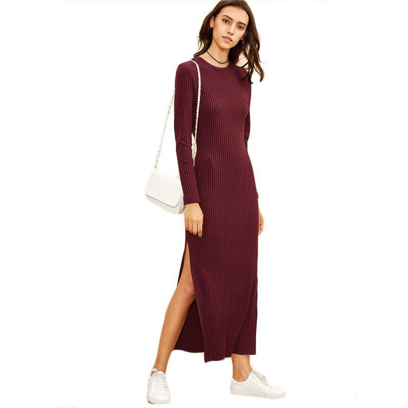 COLROVIE Winter Dresses for Women European Style Women Fall Dresses Burgundy Long Sleeve High Slit Ribbed Dress-Dress-SheSimplyShops