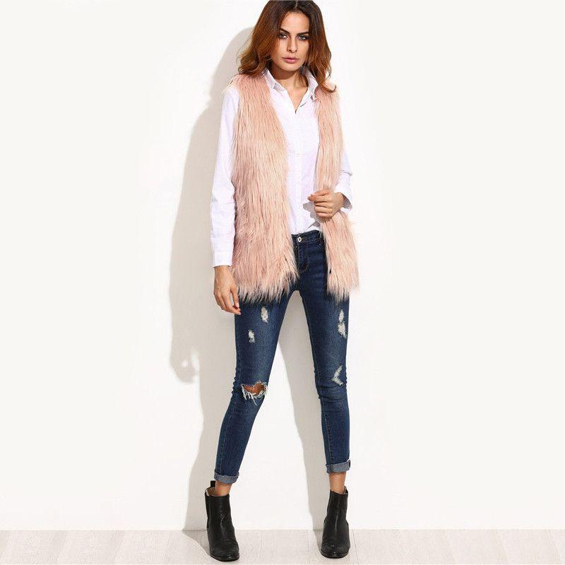 COLROVIE Pink Faux Fur Vest Woman Winter Vest Sleeveless Jacket Winter Coat Women Streetwear Designer Brand Winter Woman Vest-Coats & Jackets-SheSimplyShops