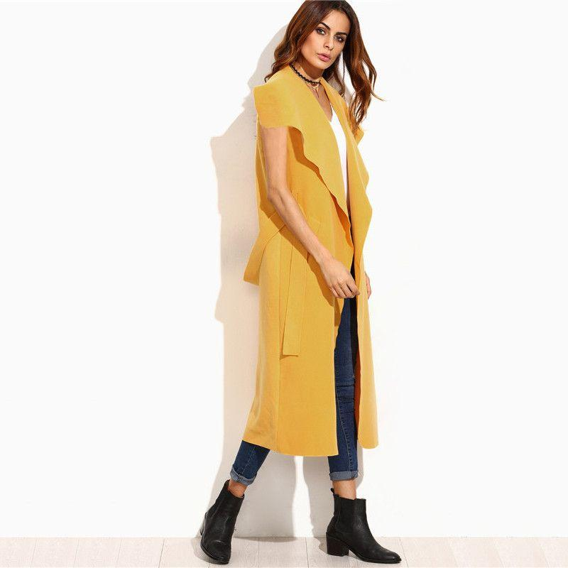 COLROVIE Yellow Drape Collar Sleeveless Wrap Coat Long Trench Coat for Women Lapel Long Classic Brand Vest-Coats & Jackets-SheSimplyShops