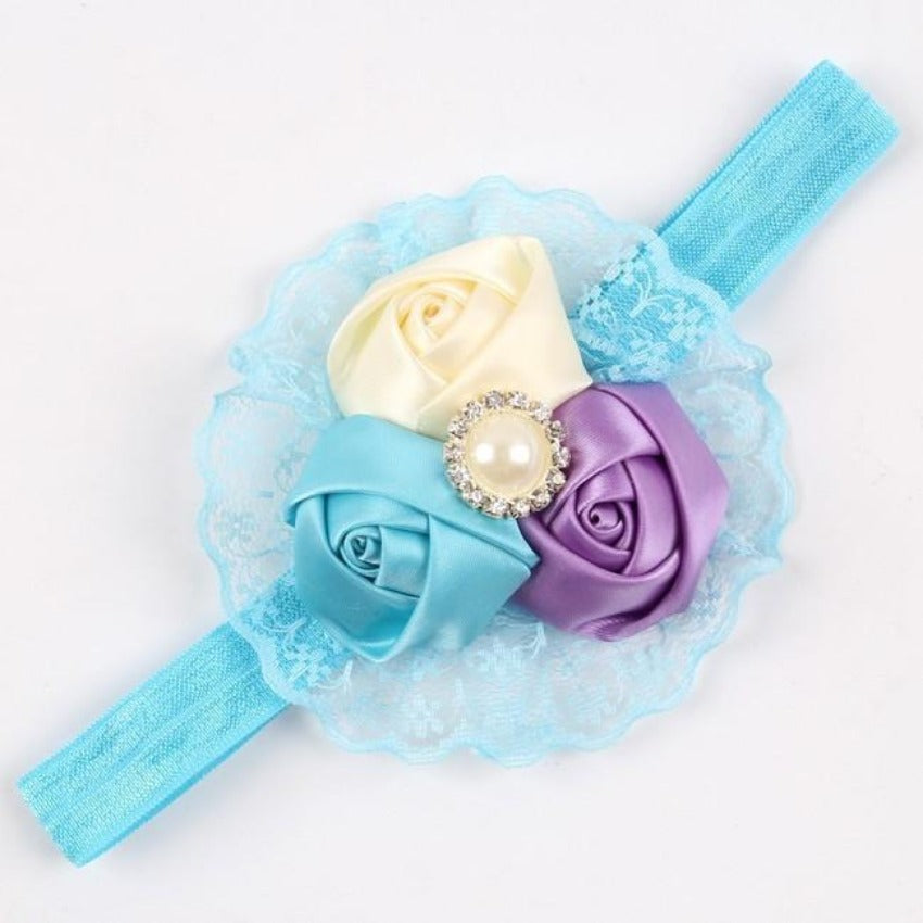 TWDVS Baby Hair Bows Girls Headwear Retail new fashion Hair Bands Lace mix 3 Rose headbands Children Flower Hair Accessories-BAGS-SheSimplyShops