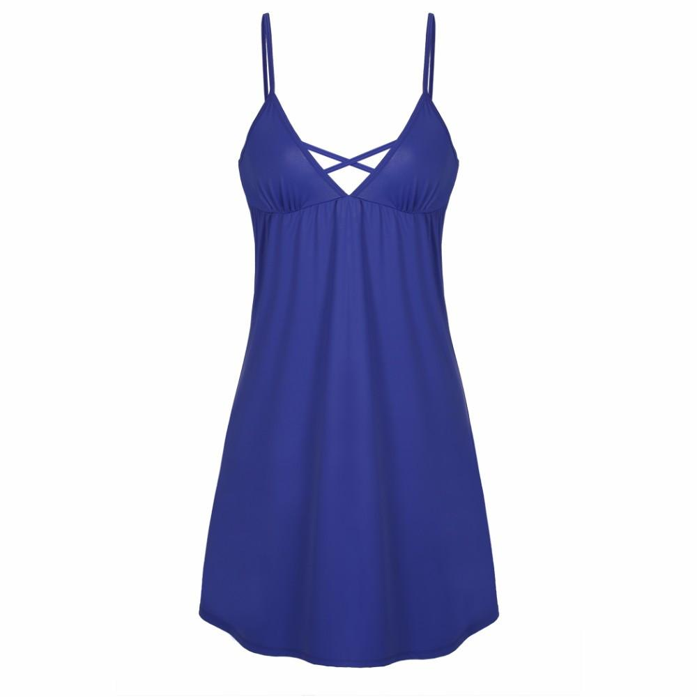 Sexy V Neck Spaghetti Strap Backless Sleepwear-Dress-SheSimplyShops