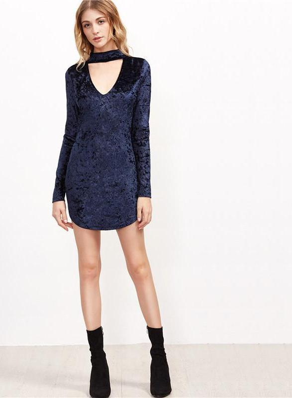 SheIn Navy Party Dresses Long Sleeve Sexy Club Dress Women Deep V Neck Cut Out Choker Velvet Bodycon Mini Dress-Dress-SheSimplyShops