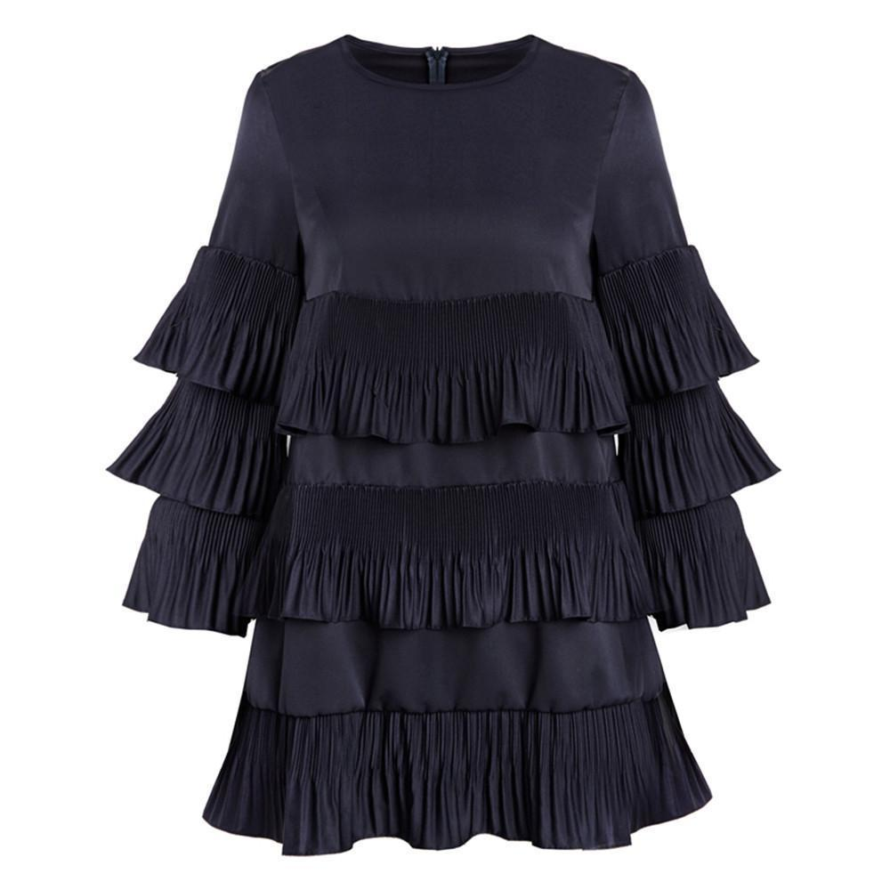Patchwork Women Dress Dark Blue Ruffled Loose Casual Mini Dress Basic Butterfly Sleeve Autumn Dress For Women-Dress-SheSimplyShops