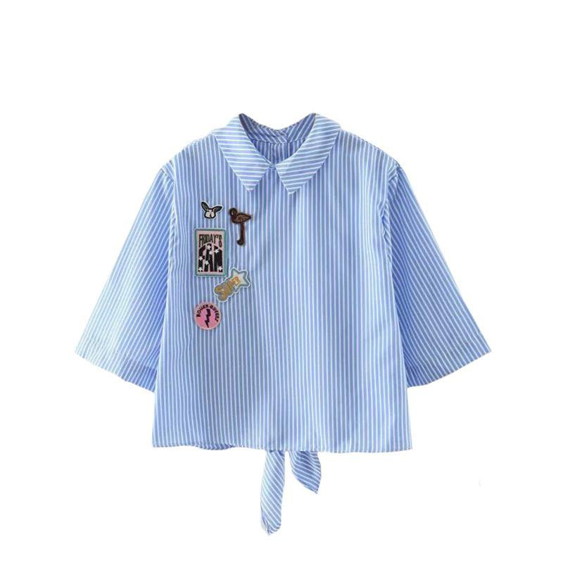 Ladies Blue and White Stripe Knotted Back Applique Shirt Lapel Half Sleeve with Button Cute Blouse-Bottoms-SheSimplyShops