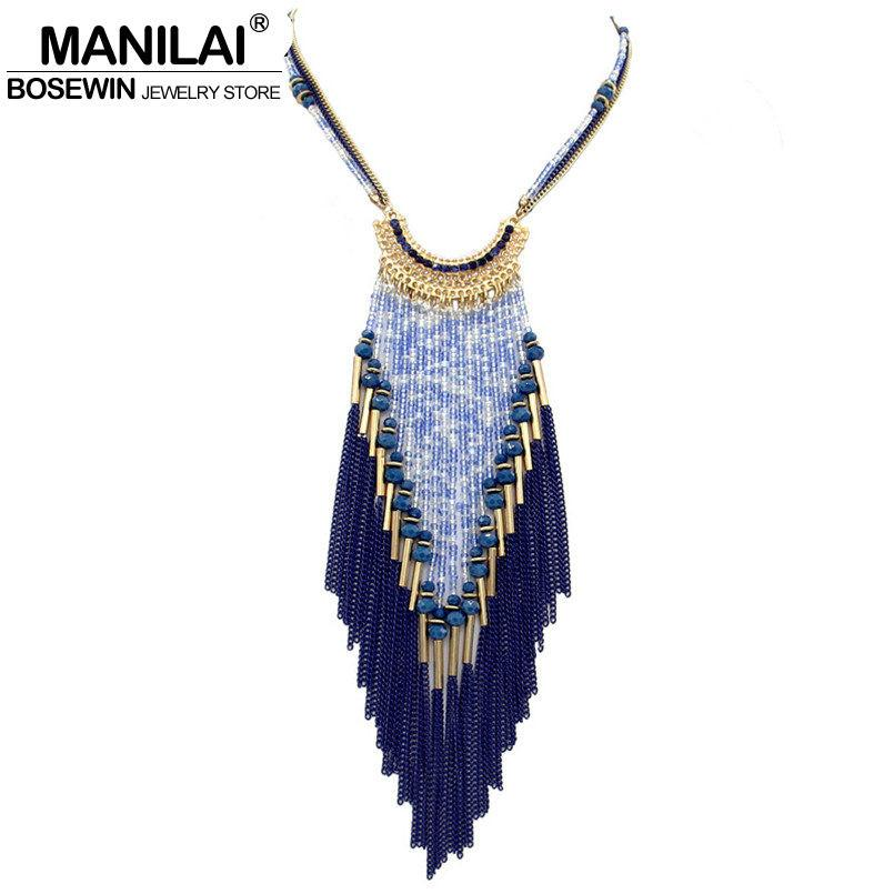 Long Necklace For Women Multilayers Bead Chain Tassel Statement Necklaces & Pendants Collier femme-NECKLACES-SheSimplyShops