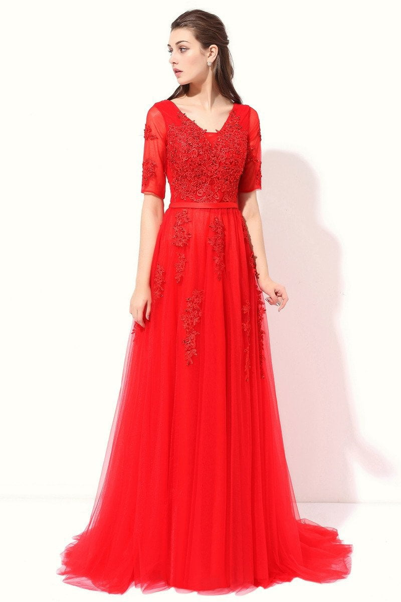 Half Sleeves V-neck Lace Beading Long Evening Dress-Dress-SheSimplyShops