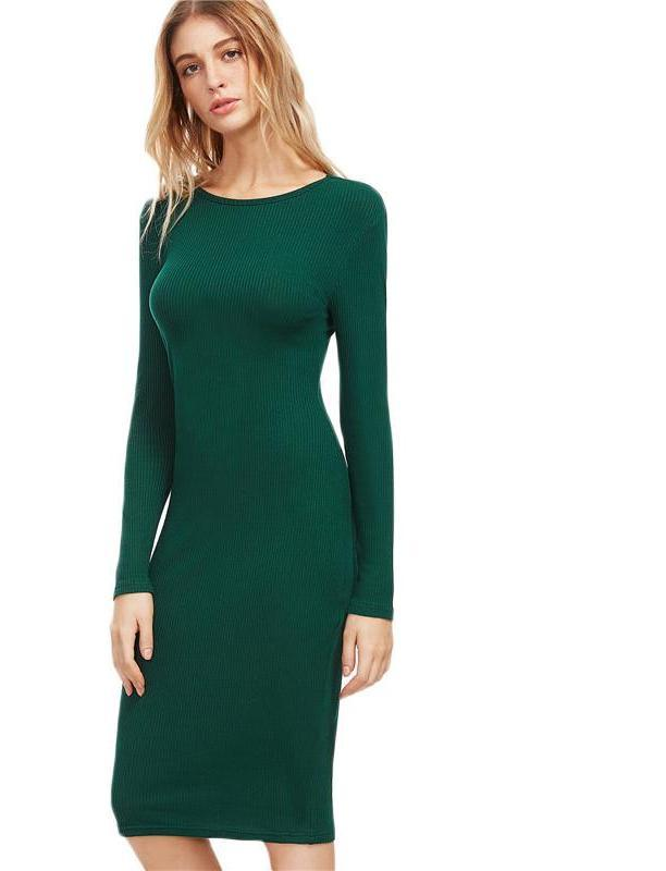 SheIn Dark Green Winter Dresses Women Long Sleeve Elegant Womens Autumn Dresses Ladies Ribbed Pencil Midi Dress-Dress-SheSimplyShops