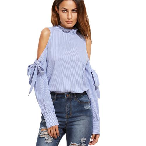 SheIn Korean Fashion Clothing Tops and Blouses for Women Blue Vertical Striped Ruffle Collar Cold Shoulder Blouse-Blouse-SheSimplyShops
