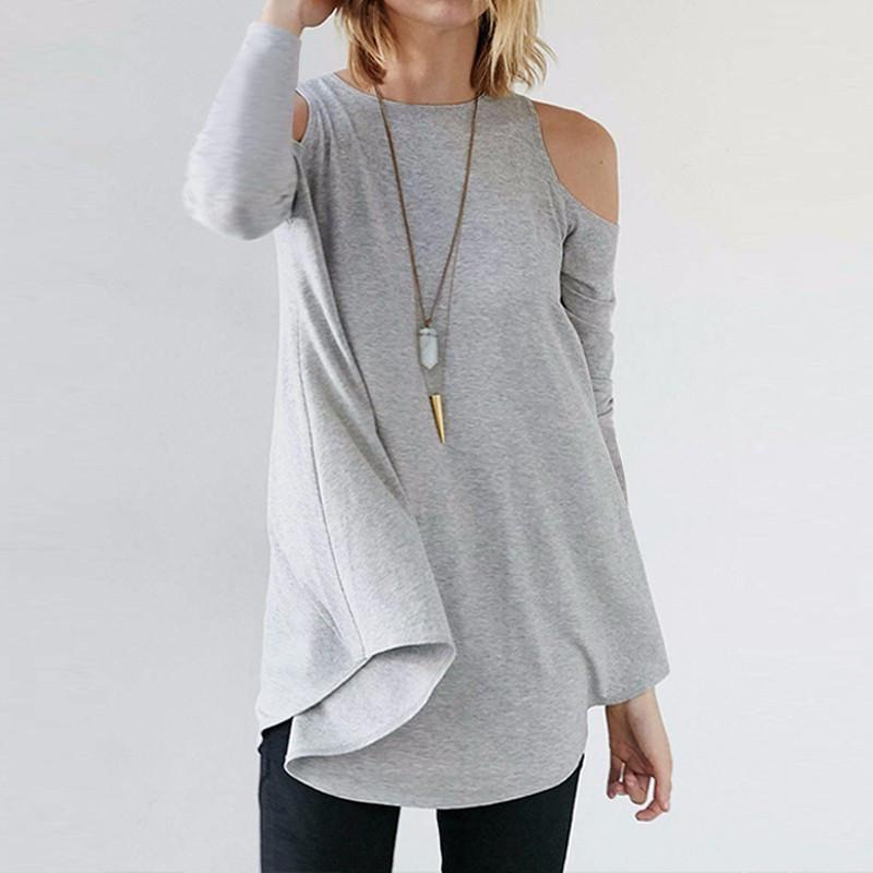 ZANZEA Women Blouses Spring Sexy Blusas Casual Loose O Neck Half Sleeve Long Tops Tee Asymmetrical Off Shoulder Solid Shirt-Blouse-SheSimplyShops